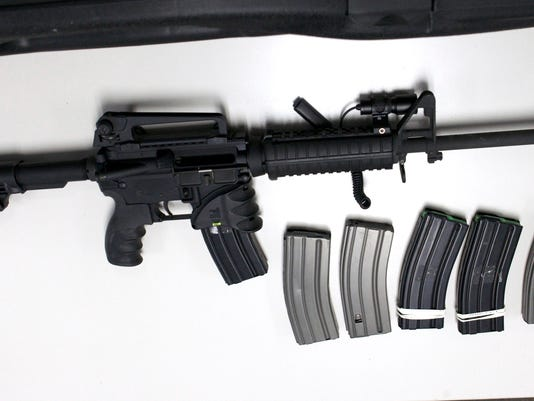 File photo of a Bushmaster semi-automatic assault rifle in New Haven