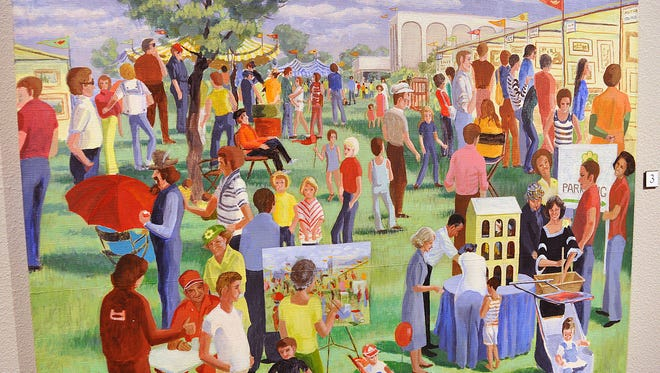 This acrylic painting by artist Polly Cox is a self portrait of the artist painting a scene from a Spring Fling event at the Wichita Falls Museum of Art at Midwestern State University.