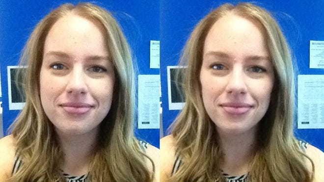 Reporter Kaila White used SkinneePix to take an unfiltered photo (left) and slim it by 15 pounds (right).