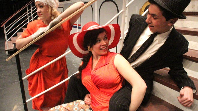 """Beth Shira as Irma, left, Madelyn Sly as Reno and Matt O'Brien as Moonface perform in the Hartland High School production of """"Anything Goes."""""""