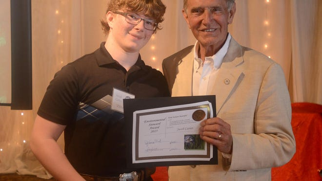Jacob Carter received the 2015 Mayor's Civic Pride Award for Environmental Stewardship on Tuesday.