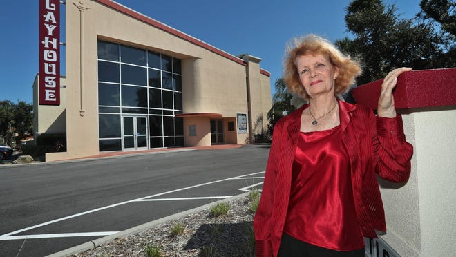 Kathy Thompson, president of Daytona Playhouse in Daytona Beach, pictured in front of the theater in 2018. Thompson said the Playhouse has postponed reopening its theater season until January 2021, although it will still host small community events.