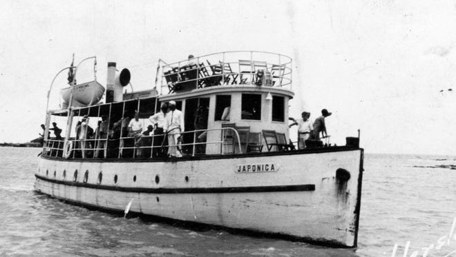 The Japonica, a local pleasure and passenger cruise yacht which operated out of Corpus Christi from the end of the Pleasure Pier, was owned by Capt. Andy Anderson. It burned in 1946.