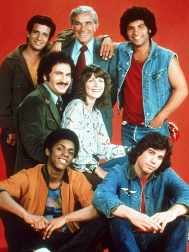 """The cast of the 1970's TV sitcom """"Welvcome Back Kotter."""""""