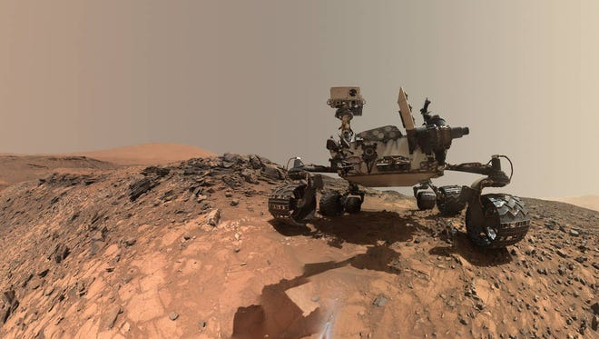 Low-angle self-portrait of NASA's Curiosity Mars rover taken on Aug. 5, 2015, the 1,065th Martian day of the rover's work on the Red Planet. The selfie was created using several component images from Curiosity's Mars Hand Lens Imager.