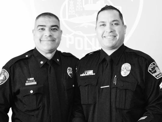 Corpus Christi assistant police chief Michael Alanis, left, announced his retirement from the department on April 6, 2018. He was on the force for 20 years. He is pictured with his brother, Sgt. Matthew Wright, who works for the Austin Police Department.