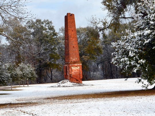 Chimney Ruin: An abandoned chimney presumed to be all that remains of an old cotton gin near Newlight on the Tensas River.