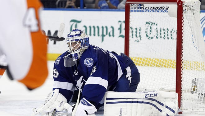 Anders Lindback made 34 saves in a win over the Flyers Thursday night.