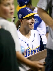 Wilmington pitcher Jared Ruxer after the Blue Rocks