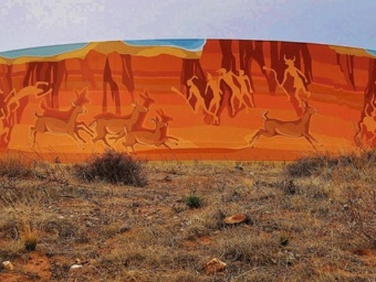 """Tony Pennock's """"Indian Canyon,"""" at Sedona Hills Parkway and Pagosa Hills Avenue, features a mural inspired by ancient petroglyphs and legends."""