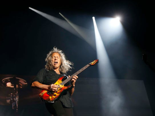 Lead guitarist Kirk Hammett performs with Metallica