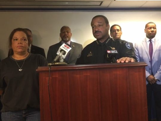 Police Chief Lee Vance addresses the media in a Monday press conference at Jackson Police Department Headquarters.