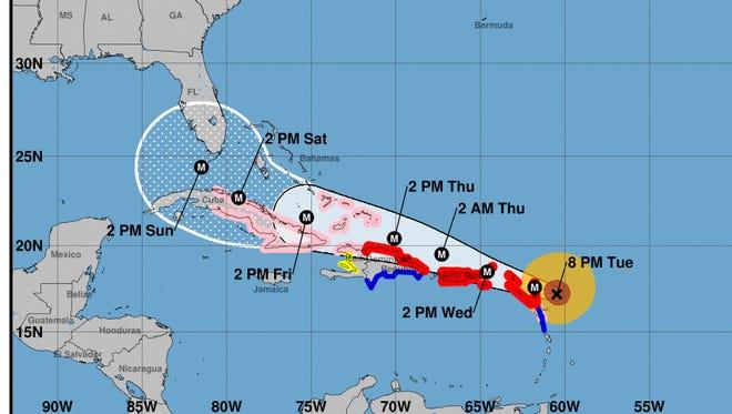 Hurricane Irma's forecast as of the 8 p.m. National Hurricane Center advisory