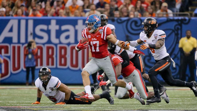 Tight end Evan Engram (17) runs after a catch against Oklahoma State during the second quarter of the 2016 Sugar Bowl. Coach Hugh Freeze said the senior could take a larger role in the team's passing offense this season.