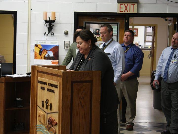 Paramus Catholic President Stephanie Macaluso announces