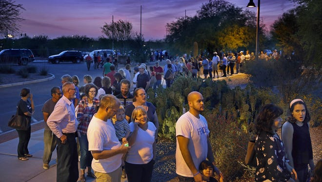 Voters in Arizona's presidential primary March 22, 2016, faced long lines at polling places as the number of polling places were cut in Maricopa County.