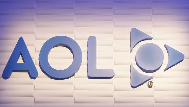 The America Online logo is seen at the AOL booth at the Consumer Electronics Show in Las Vegas, Jan. 5, 2008.