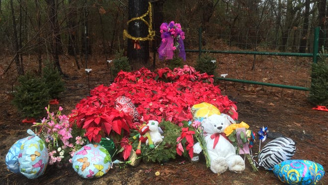 The place where Jessica Chambers and her car were set on fire by an unknown assailant now serves as a shrine to her memory.
