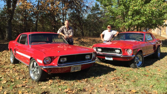 The Myers brothers, Joe and Nick, with the 1968 Mustang California Specials they drove as teenagers.
