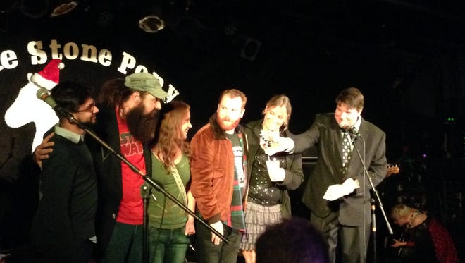 Scott Stamper and the crew of the Saint nightclub on stage at the Asbury Music Awards, Dec. 17 at the Stone Pony in Asbury Park.