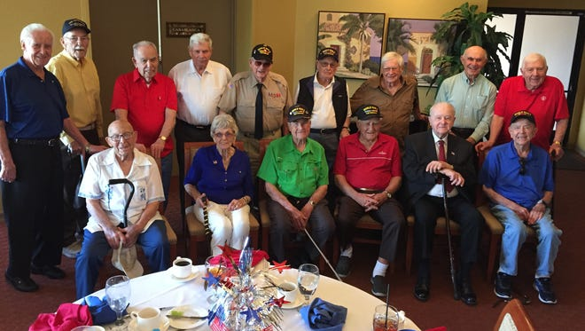 Fifteen World War II veterans were honored during a patriotic luncheon hosted by the Palm Desert Greens Country Club Women's Club at Oasis Country Club in Palm Desert on Wednesday, Feb. 10, 2016.