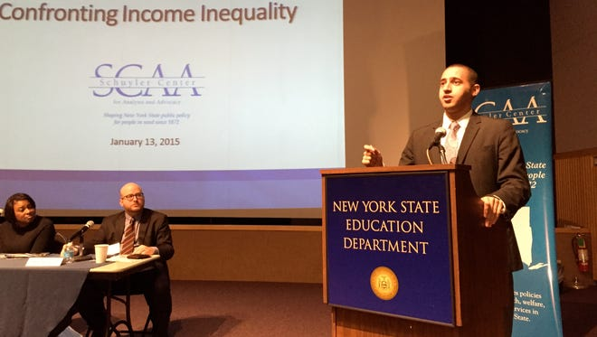 Ithaca Mayor Svante Myrick speaks in Albany about income inequality in upstate cities