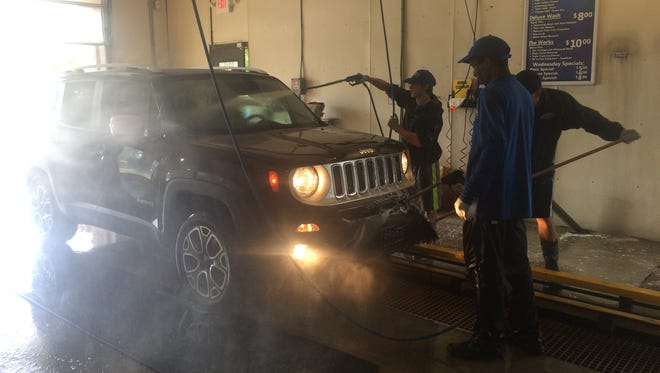 Prepping a car for a wash can take up to five minutes.
