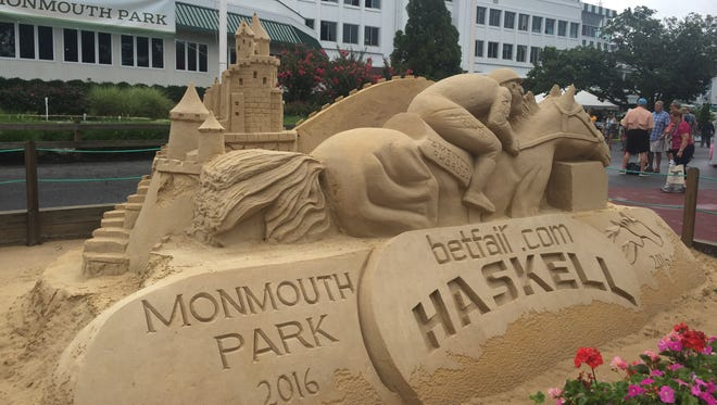 The sand sculpture welcomes fans to Monmouth Park for the 2016 Haskell Invitational.