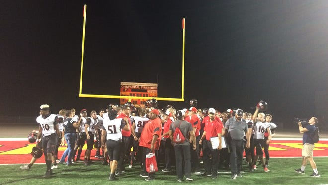 Liberty celebrates after defeating Chaparral on Friday, Oct. 6, 2017 in Peoria, Ariz.