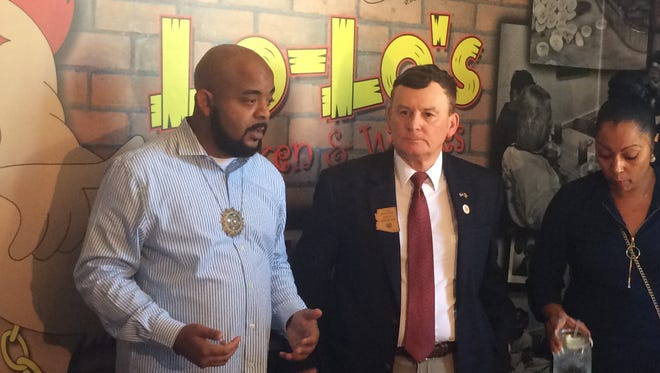 Rep. David Stringer and the Rev. Jarrett Maupin (left) hold a news conference at Lo-Lo's Chicken & Waffles centered around Stringer's remarks about immigration on June 27, 2018.