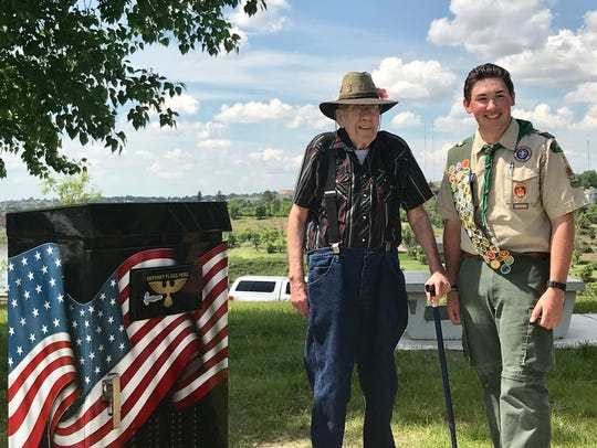Sean Lynch honors his grandfather retired Master Sergeant Thomas William Lynch Sr. with his Eagle Scout project. Sean put together a permanent box at Veterans Memorial Park for people to properly retire worn American flags.
