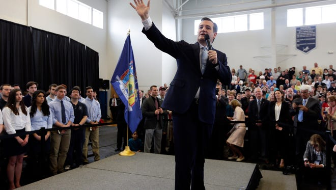 Republican presidential candidate, Sen. Ted Cruz, R-Texas, speaks during a campaign event at Mekeel Christian Academy on Thursday, April 7, 2016, in Scotia, N.Y. (AP Photo/Mike Groll)