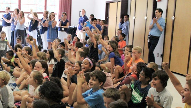 Wodland School students rejoice on Sept. 28 as their school is announced as a 2017 Blue Ribbon School
