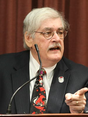 Attorney Thomas McAdam, who represents Metro Councilman Dan Johnson, speaks during a press conference where Johnson announced that he has decided to leave the Metro Council Democratic Caucus immediately.  Johnson, who has stated that he will not seek re-election, will stay on the council through the end of his term. June 29, 2017