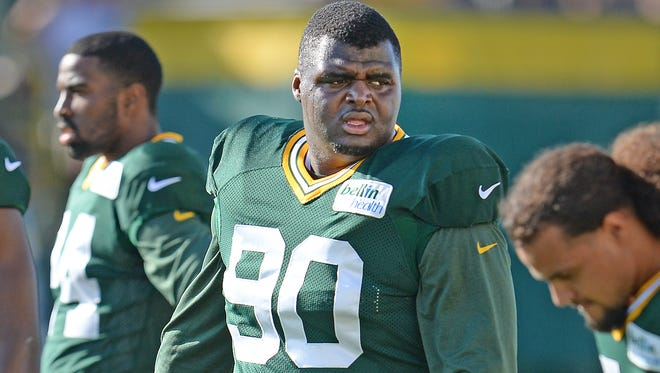 Defensive tackle B.J. Raji (90) at Green Bay Packers Training Camp at Ray Nitschke Field August 3, 2015.