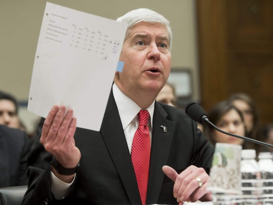 Michigan Governor Rick Snyder testifies about the lead water in Flint, Michigan, during a House Oversight and Government Reform Committee hearing on Capitol Hill in Washington, DC, March 17, 2016.