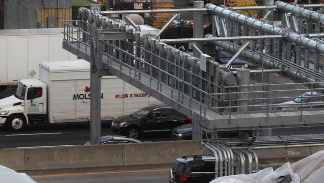 A toll gantry has been built over the New York State Thruway in South Nyack. Tolls for the Tappan Zee Bridge will be collected electronically when this gantry is put into use in the spring.