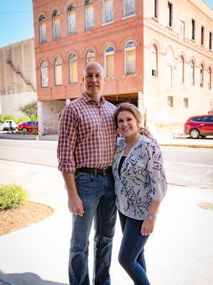 Jennifer & Jason in front of Castle Hall