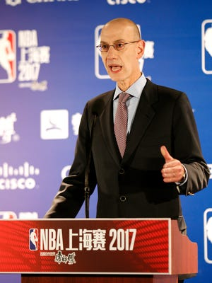 NBA commissioner Adam Silver speaks during a news conference in Shanghai, China, Sunday, Oct. 8, 2017.