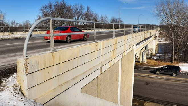 The Mississippi River bridge will undergo construction this summer to make repairs and updates to the current infrastructure shown Wednesday, Feb. 21, in Sartell.