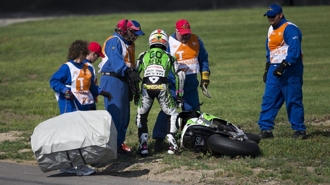 Alvaro Bautista scares crowd in crash during MotoGP practice