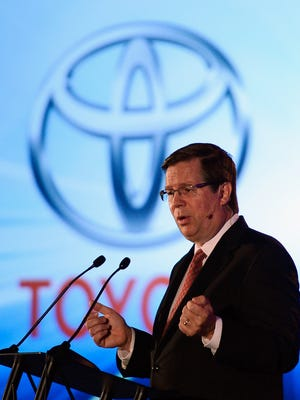 Jim Lentz, president  and CEO Toyota Motor Sales, USA, delivers a keynote speech during the Los Angeles Auto show on Nov. 28, 2012, in Los Angeles, Calif.