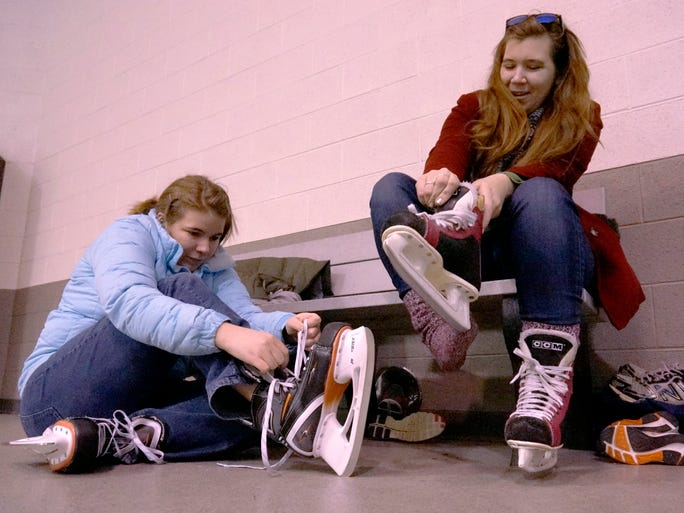 Sisters Victoria and Ashley Goll lace up for some ice