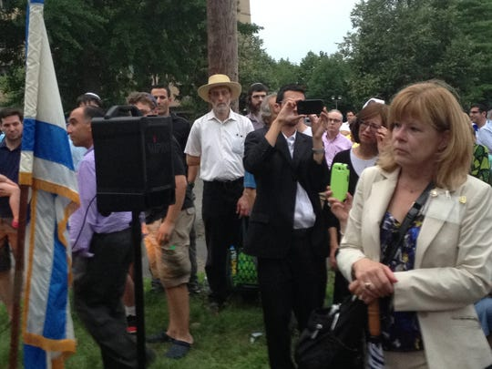 Assemblywoman Nancy Pinkin, D-18th, was among the speakers at pro-Israeli rally on Wednesday in Highland Park.