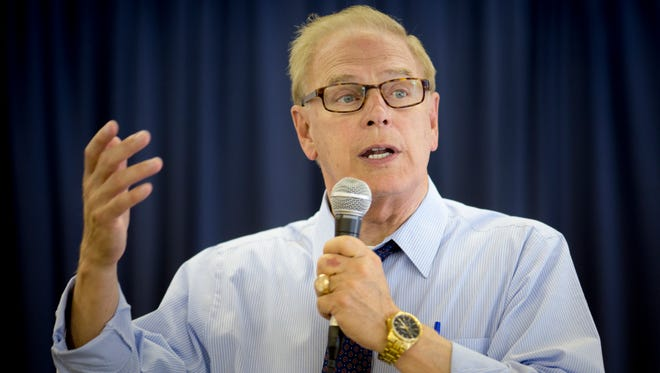 Former Ohio Gov. Ted Strickland, who is running against incumbent GOP Sen. Rob Portman, speaks at a Sept. 10 fundraiser at the Scioto County Fairgrounds.
