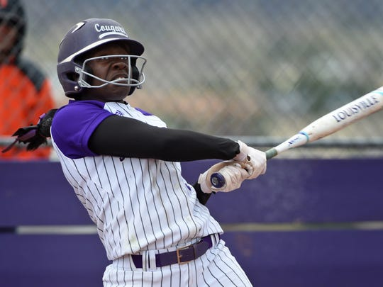 Spanish Springs' Amidori Anderson gets a hit against