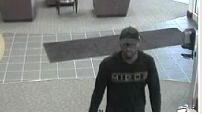 Muncie police have released this image of the bandit who held up the Old National Bank at 2401 S. Madison St. shortly after 11 a.m. Friday.
