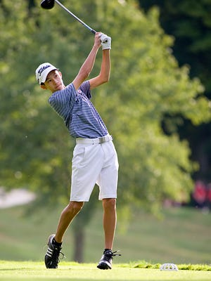 Alliance's Blake Hood has the lead after the first day of the First Tee of Canton Junior Tour Schorsten Memorial Tournament at the Sanctuary Golf Course.