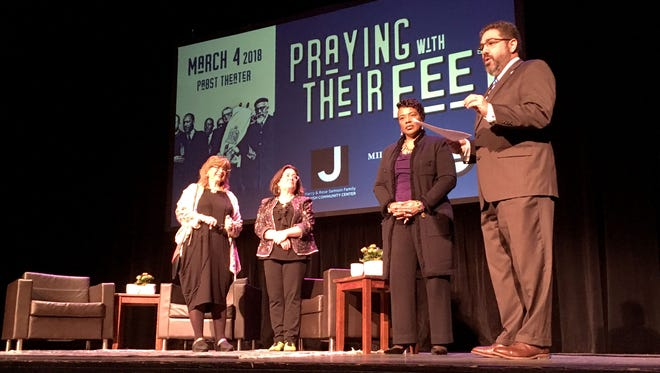 Susannah Heschel (from left), daughter of Rabbi Abraham Heschel,  Bonnie North, radio host and producer at WUWM, Bernice King, daughter of Martin Luther King Jr., and Mark Shapiro, president of the Jewish Community Center, appeared  at the Pabst Theater in Milwaukee. The women's fathers were friends and colleagues during the civil rights movement.