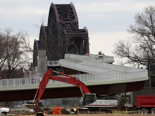 Jeffersonville officials are hoping to have their end of the Big Four bridge connection partially open by April 30th.    April 2, 2014